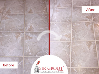 Before and After Picture of a Home's Floor Tile Cleaning Service in Phoenix, Arizona