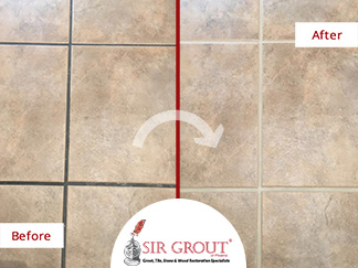 Before and After Picture of a Kitchen Floor Grout Recoloring Service in Tempe, Arizona