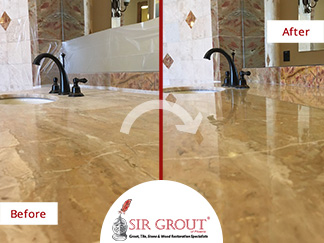 Before and After Picture of a Stone Honing and Polishing Service in Scottsdale, AZ