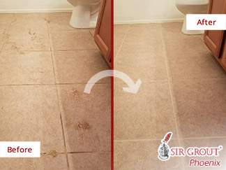 Before and After Picture of Bathroom Floor Tile and Grout Cleaning in Phoenix, Arizona