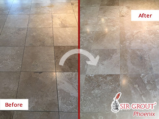 Before and after Picture of This Stone Honing Job Done in Phoenix, AZ