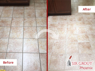 Before and After Picture of a Floor Grout Cleaning in Gilbert, AZ