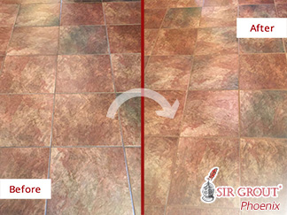 Before and After Picture of a Dirty Tile Floor Renewed with a Grout Cleaning in Scottsdale, AZ