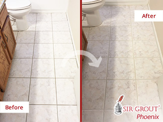 Before and after Picture of This Two Bathrooms in Gilbert, Arizona, after Our Grout Sealing Process
