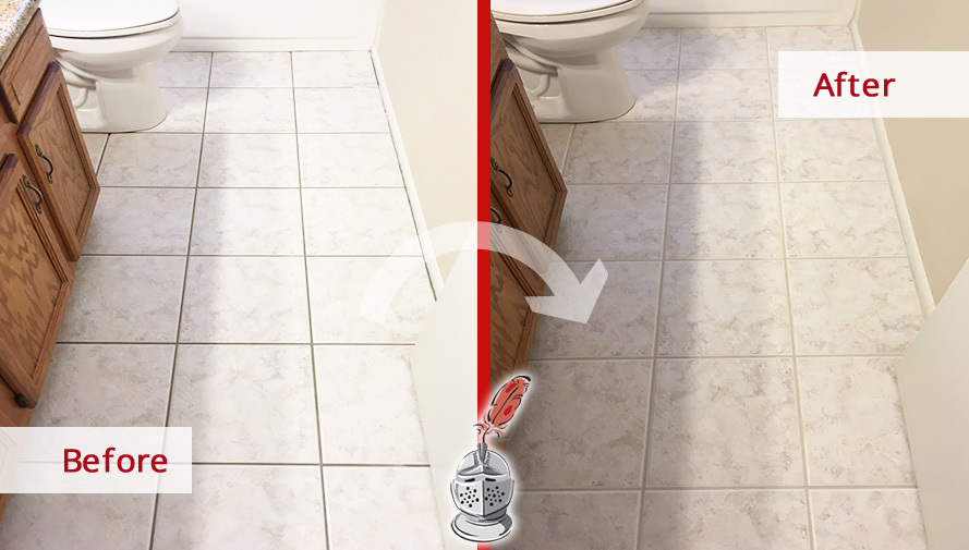 Before and after Picture of Our Grout Sealing Service in Two Bathrooms in Gilbert, Arizona