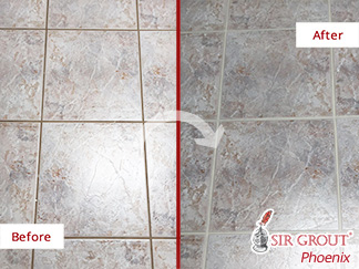 Before and after Picture of This Bedroom Floor in Phoenix, Arizona, after Our Grout Cleaning Service