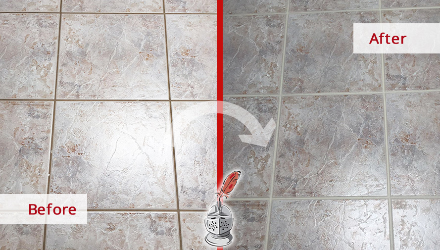 Before and after Picture of Our Grout Cleaning Process in This Bedroom Floor