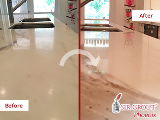 Before and after Picture of a Calacatta Marble Countertop after Our Stone Polishing Service in Scottdale, AZ