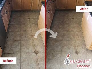 Before and After Picture of This Floor After a Grout Sealing Job in Chandler, AZ
