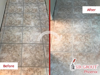 Before and After Picture of a Grout Cleaning Job in Scottsdale, AZ