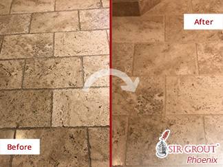 Before and After Picture of a Grout Recoloring Service in Phoenix, AZ