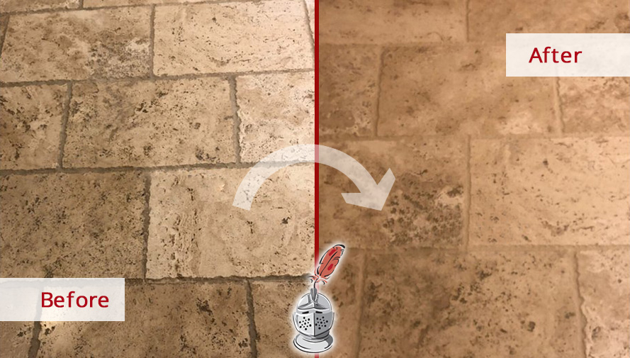 Travertine Floor Before and After a Grout Recoloring Service in Phoenix, AZ