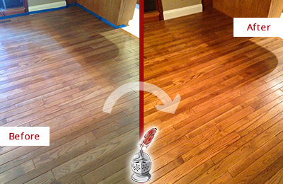 Before and After Picture of a Paradise Valley Wood Sand Free Refinishing Service on a Dull Floor to Recover Its Sheen