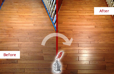 Before and After Picture of a Paradise Valley Wood Sand Free Refinishing Service on a Dull Hallway