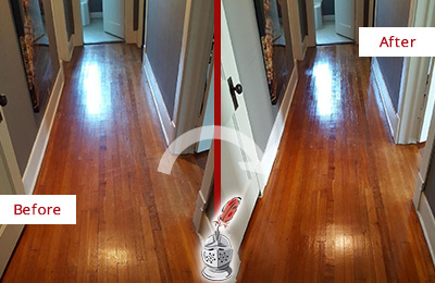 Before and After Picture of a Paradise Valley Wood Sand Free Refinishing Service on a Floor to Eliminate Scratches