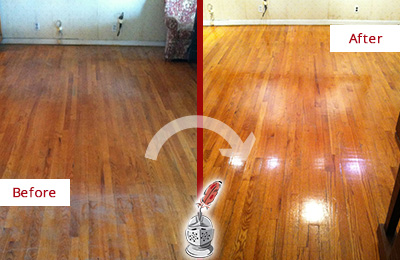 Before and After Picture of a Paradise Valley Wood Sand Free Refinishing Service on a Stained Floor