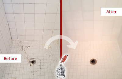 Before and After Picture of Grout Caulking on a Shower