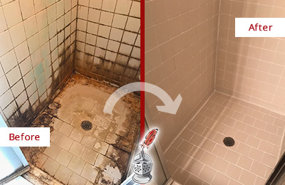 Before and After Picture of Shower Caulking on a Shower with Mold and Mildew