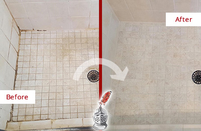 Picture of a Marble Shower Before and After a Tile Caulking