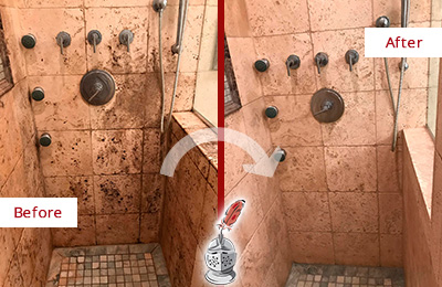 Before and After Picture of a Travertine Shower Honed and Polished to Remove Mineral Deposits