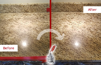 Before and After Picture of a Granite Kitchen Countertop Honed and Polished to Remove Scratches