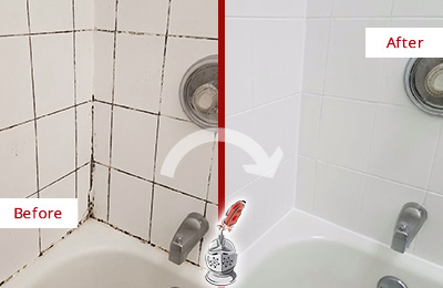 Before and After Picture of a Shower with Moldy Grout Lines Recolored and Sealed to Look Like New