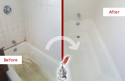 Before and After Picture of a Gilbert Bathtub Caulked to Repair Cracks