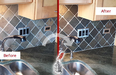 Before and After Picture of a Scottsdale Backsplash Caulked to Fix and Prevent Water Leaks