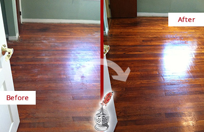 Before and After Picture of a Cave Creek Wood Sandless Refinishing Service on a Dull Floor to Remove Stains