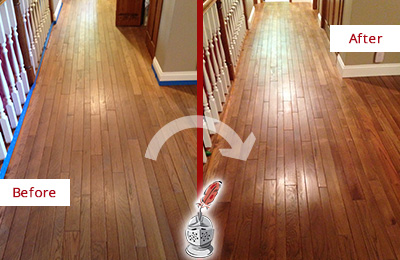 Before and After Picture of a Cave Creek Wood Sandless Refinishing Service on a Worn Out Floor