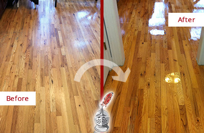 Before and After Picture of a Cave Creek Wood Sandless Refinishing Service on a Worn Out Hallway