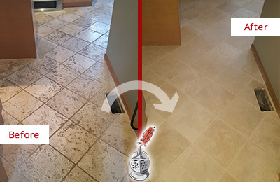 Before and After Picture of a Phoenix Kitchen Marble Floor Cleaned to Remove Embedded Dirt