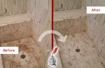 Before and After Picture of a Dirty Phoenix Marble Shower Cleaned to Eliminate Dark Stains