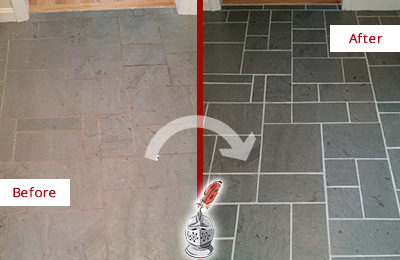 Before and After Picture of a Phoenix Slate Floor Cleaned to Remove Deep-Seated Dirt