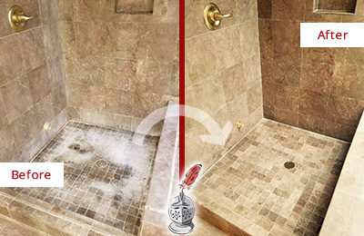 Before and After Picture of a Phoenix Travertine Shower Cleaned to Eliminate Water Spots