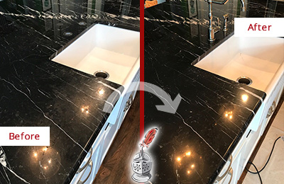 Before and After Picture of a Mesa Marble Kitchen Countertop Stone Sealed to Avoid Water Damage