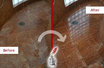 Before and After Picture of Damaged Mesa Marble Floor with Sealed Stone