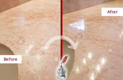 Before and After Picture of a Mesa Marble Stone Vanity Top Sealed to Avoid Water Marks