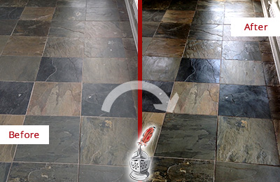 Before and After Picture of a Mesa Slate Stone Floor Sealed to Eliminate Dullness