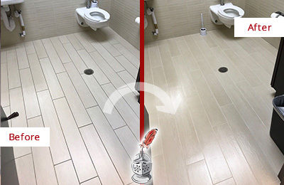 Before and After Picture of a Gilbert Office Restroom's Grout Cleaned to Remove Dirt