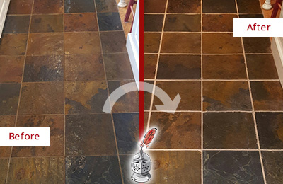 Before and After Picture of a Chandler Slate Floor Recolored Grout