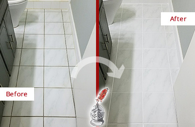 Before and After Picture of a Chandler White Ceramic Tile with Recolored Grout