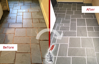 Before and After Picture of Damaged Phoenix Slate Floor with Sealed Grout