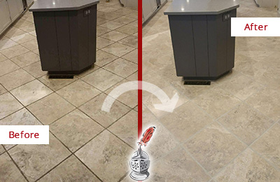 Before and After Picture of a Phoenix Kitchen Floor Grout Sealed to Remove Stains