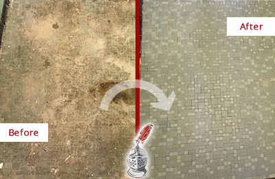 Before and After Picture of a Cave Creek Mosaic Shower Cleaned to Eliminate Embedded Dirt