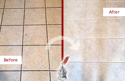 Before and After Picture of a Cave Creek Ceramic Floor Cleaned to Remove Soil